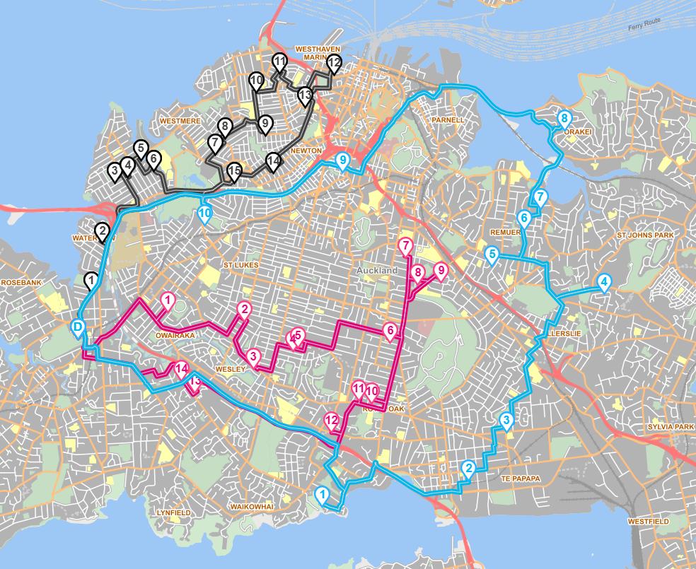 Auckland Scenario 3 Routes