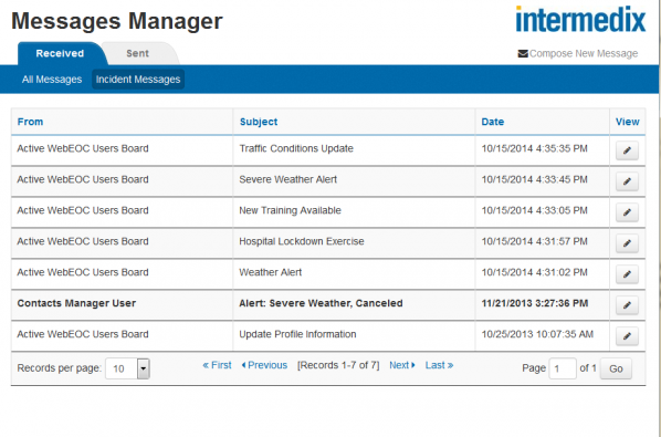 Messages Manager -  message logs