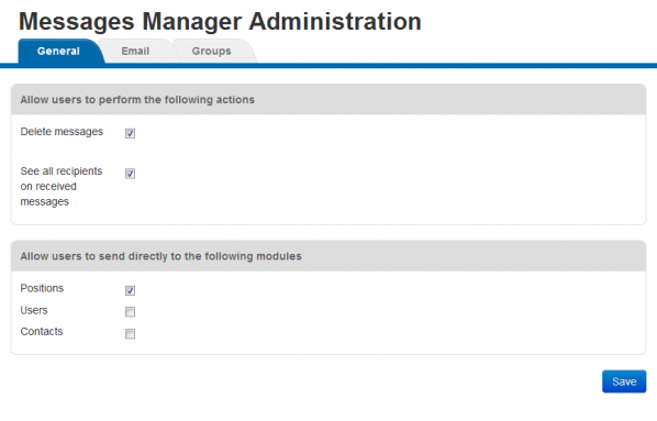 Messages Manager - Administration