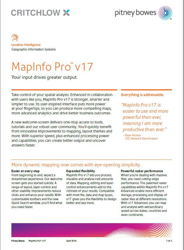 MapInfo Pro v17 Datasheet